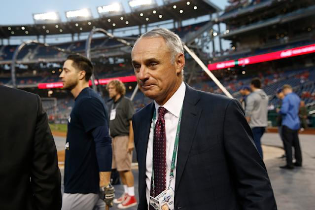 Commissioner of Major League Baseball Rob Manfred is ready to broaden his discipline if necessary for the Astros. (AP Photo/Patrick Semansky)