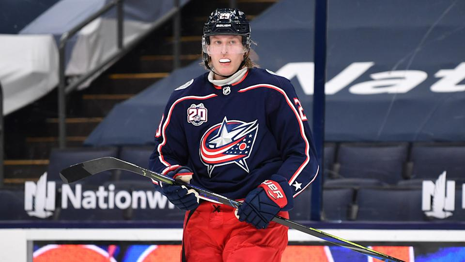 Patrik Laine was stapled to the bench in the late moments of the Blue Jackets' OT loss to Florida on Thursday. (Photo by Jamie Sabau/NHLI via Getty Images)