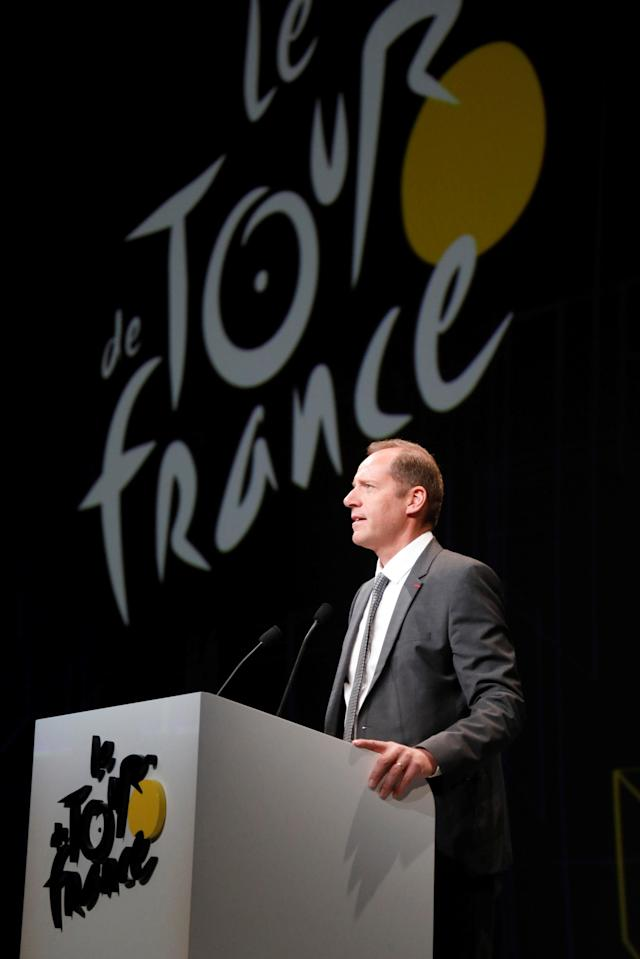 Tour de France director Christian Prudhomme speaks during a news conference to announce the itinerary of the 2018 Tour de France cycling race in Paris, France, October 17, 2017. The world's greatest cycling event will start from Noirmoutier-en-L'Ile on July 7 and will finish at the Champs Elysees in Paris on July 29. REUTERS/Charles Platiau