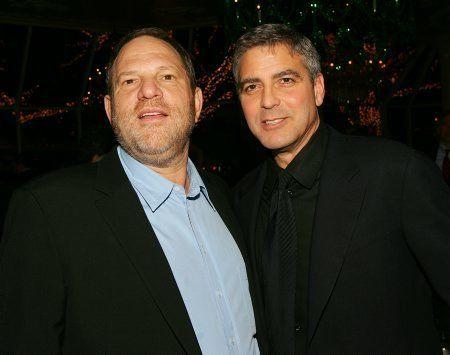 "Weinstein and Clooney, pictured in 2005, collaborated on Clooney's directorial debut, ""Confessions of a Dangerous Mind."""