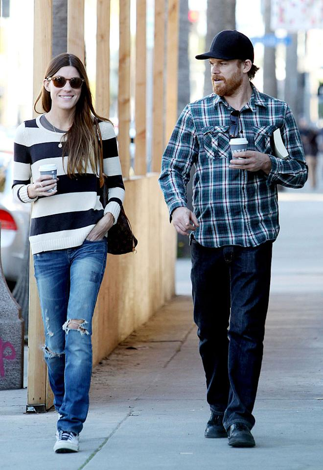"""The love between """"Dexter"""" co-stars Michael C. Hall and Jennifer  Carpenter seems very much alive again. The exes, who play siblings on  the Showtime drama, were spotted on a stroll in Venice, California, on Wednesday. (2/8/2012)"""