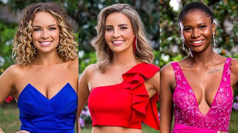 A photo of bachelorettes Abbie, Kristen and Vakoo from The Bachelor Australia season seven.