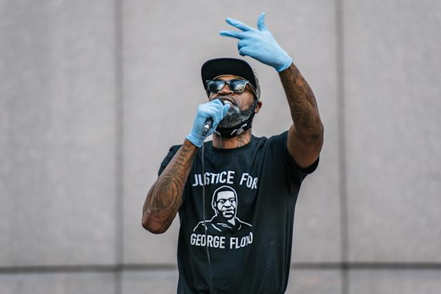 Former NBA player Stephen Jackson, a friend of George Floyd's, speaks during a rally in front of the Hennepin County Government Center on June 11, 2020, in Minneapolis. (Brandon Bell/Getty Images)