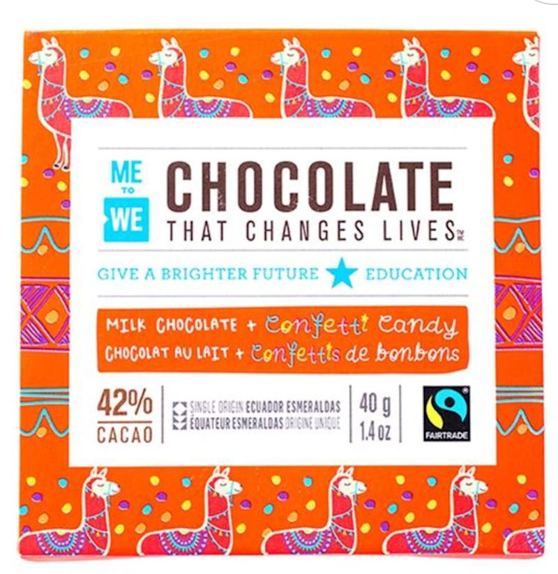 "This chocolate treat is the perfect stocking stuffer because, 1) they eat it, 2) it supports education in Ecuador. Get it for $3.99 at <a href=""https://www.mastermindtoys.com/23100-ME-to-WE-Confetti-Milk-Chocolate.aspx"" target=""_blank"" rel=""noopener noreferrer"">Mastermind Toys</a>."
