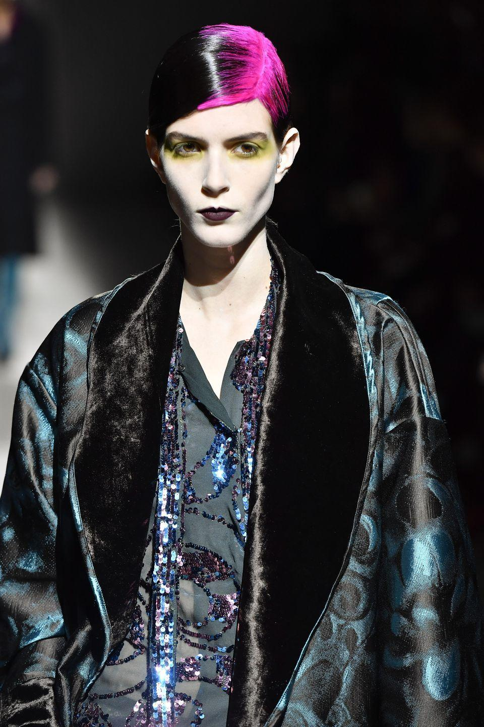 <p>Call it the Billie Eilish Effect: neon roots made an appearance at Dries Van Noten, adding impact to otherwise sleek styling. </p>
