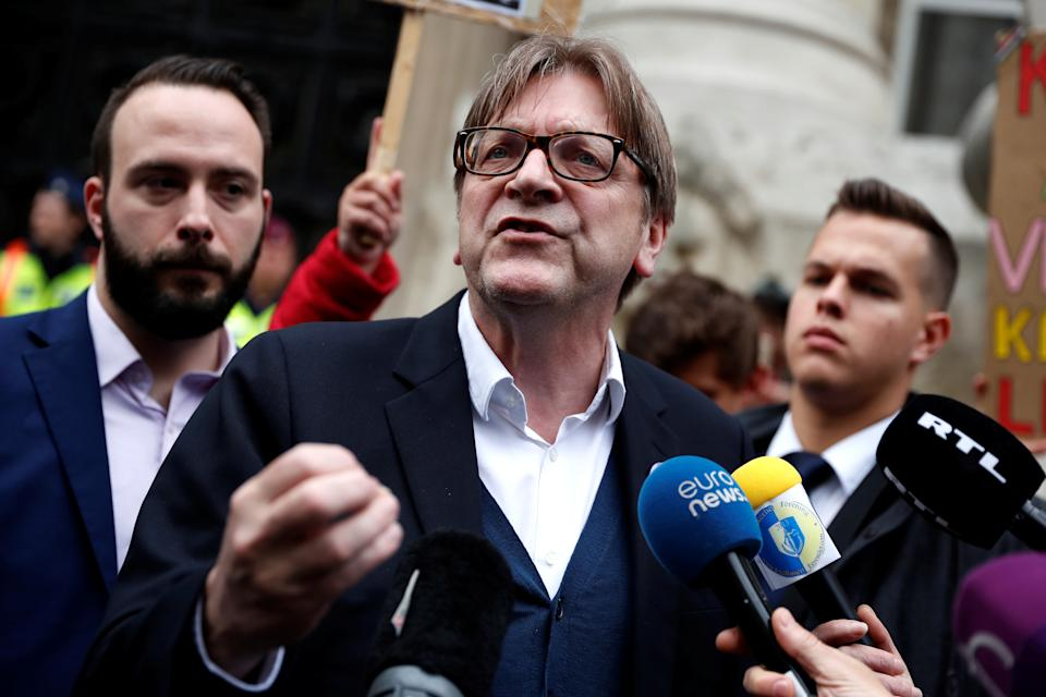 Guy Verhofstadt, president of the Alliance of Liberals and Democrats for Europe (ALDE) speaks during a news conference ahead of the European Parliament election in Budapest, Hungary, May 23, 2019. REUTERS/Bernadett Szabo