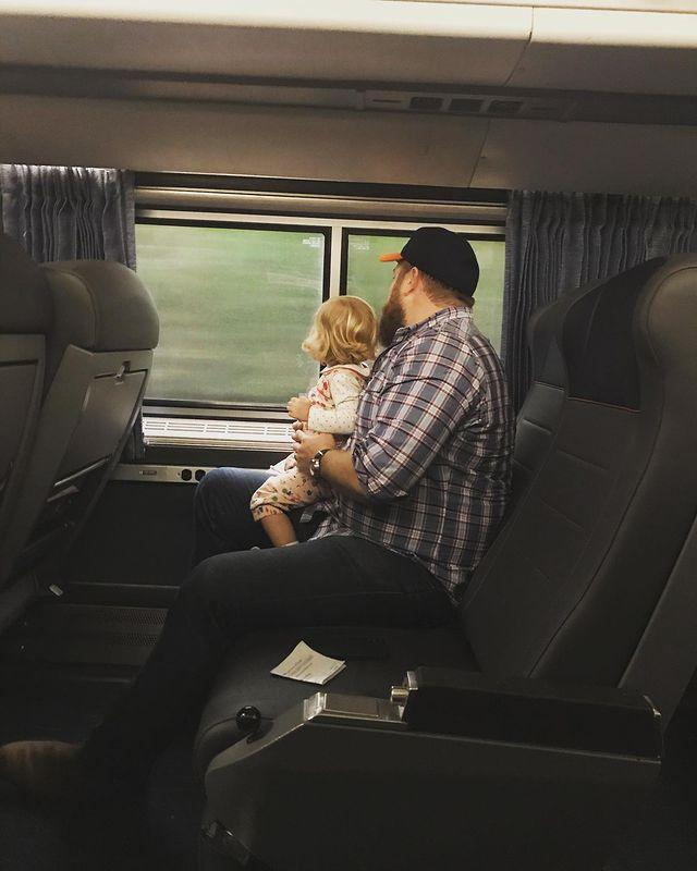 """<p>Pre-pandemic, Helen watched the world go by during a <a href=""""https://www.instagram.com/p/B4OY92xJGOn/"""" rel=""""nofollow noopener"""" target=""""_blank"""" data-ylk=""""slk:train ride with Dad"""" class=""""link rapid-noclick-resp"""">train ride with Dad</a>. </p>"""