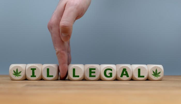 A line of dice spells out the word illegal, with a hand separating the I and L from legal.