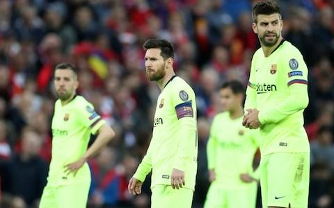 Champions League Semi Final Second Leg - Liverpool v FC Barcelona - Anfield, Liverpool, Britain - May 7, 2019 Barcelona's Jordi Alba, Lionel Messi and Gerard Pique  - Credit: Action Images