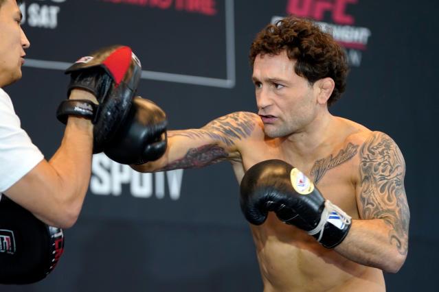 Frankie Edgar holds an open training session for fans and media during the UFC Fight Night Open Workouts at City Hall on Dec. 18, 2019 in Busan, South Korea. (Jeff Bottari/Zuffa LLC via Getty Images)