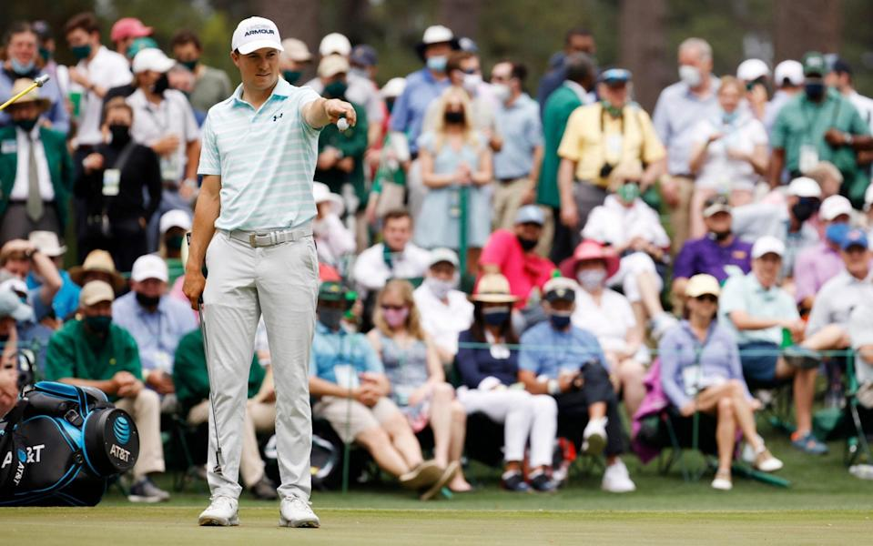 Jordan Spieth of the United States looks over a putt on the sixth green during the third round of the Masters at Augusta National Golf Club on April 10, 2021 in Augusta, Georgia. - GETTY IMAGES