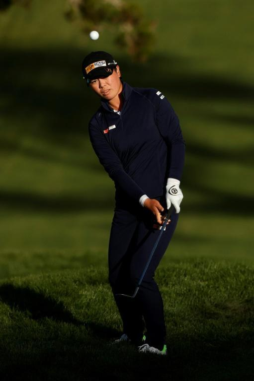 Yuka Saso of the Philippines chips on the 18th hole in the third round of the US Women's Open at Olympic Club