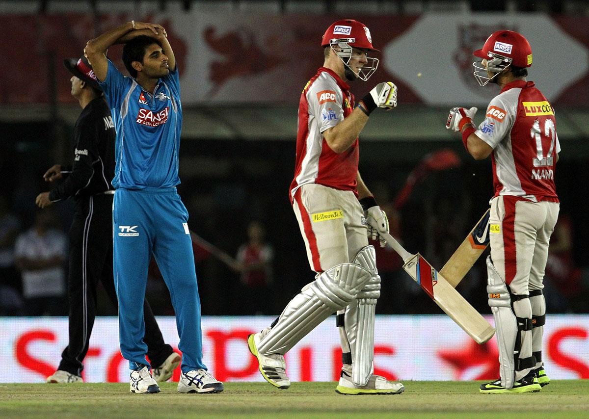 Pune Warriors player Bhuvneshwar Kumar reacts during match 29 of the Pepsi Indian Premier League between The Kings XI Punjab and the Pune Warriors held at the PCA Stadium, Mohali, India  on the 21st April 2013. (BCCI)