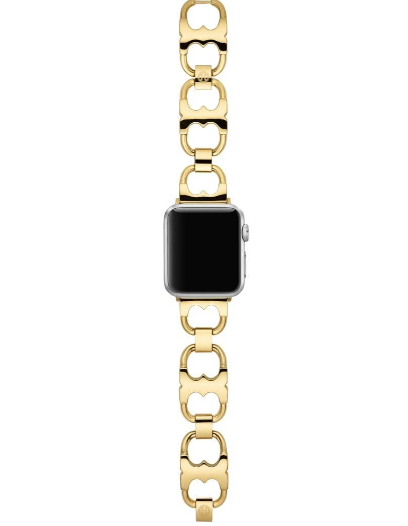 <p>Layer this chic <span>Tory Burch Double-T Link Band for Apple Watch</span> ($135) with bracelets.</p>