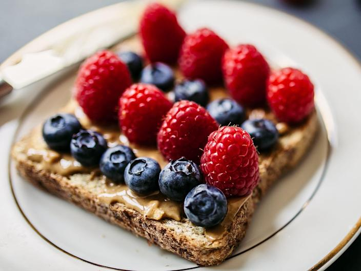 peanut butter and berries