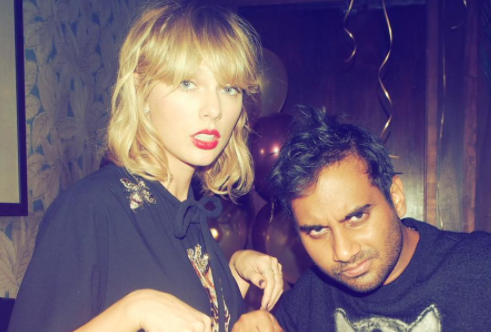 Taylor Swift and Aziz Ansari pose with matching cat shirts and it's what we needed today