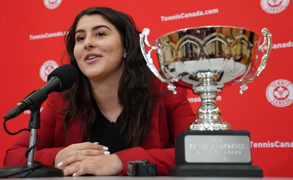 """<span class=""""caption"""">Bianca Andreescu at a press conference in Toronto, Ont., on Dec.10, 2019. Andreescu was awarded the Lou Marsh Trophy as Canada's athlete of the year. </span> <span class=""""attribution""""><span class=""""source"""">THE CANADIAN PRESS/Hans Deryk</span></span>"""