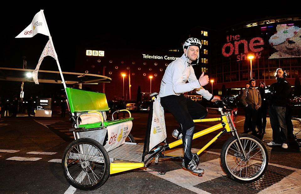 "Matt Baker completed The One Show's Rickshaw Challenge for Children in Need live on The One Show tonight raising a running total of 1,263,272.93    The text to donate line is still open. To donate 5, text ""MATT"" to 70705. Go to bbc.co.uk/pudsey for full terms and conditions   (Photo by Ian West/PA Images via Getty Images)"