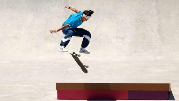 PHOTO: Mariah Duran of the United States practices on the skateboard street course ahead of the Tokyo 2020 Olympic Games on July 21, 2021, in Tokyo. (Ezra Shaw/Getty Images)