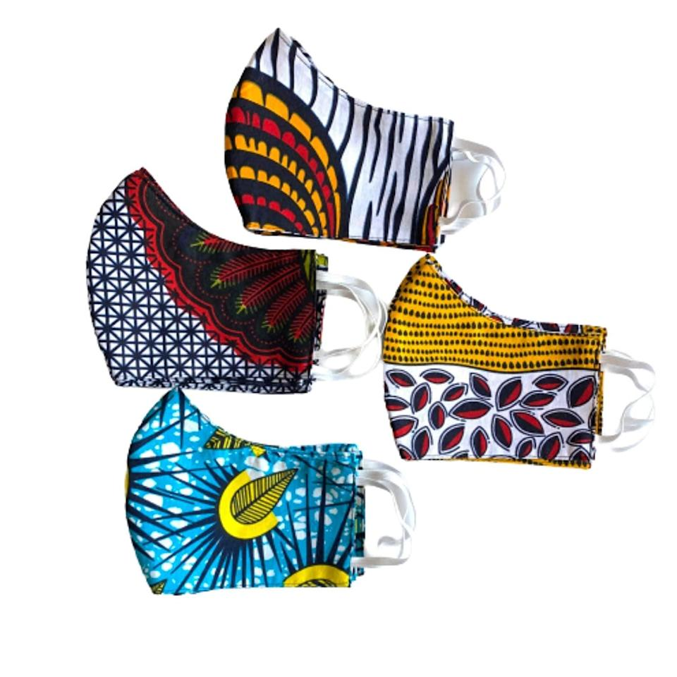 <p>Stay protected while embracing vibrant colors with these <span>Thrifty Upenyu Reusable, Washable African Fabric Face Masks</span> ($16).</p>