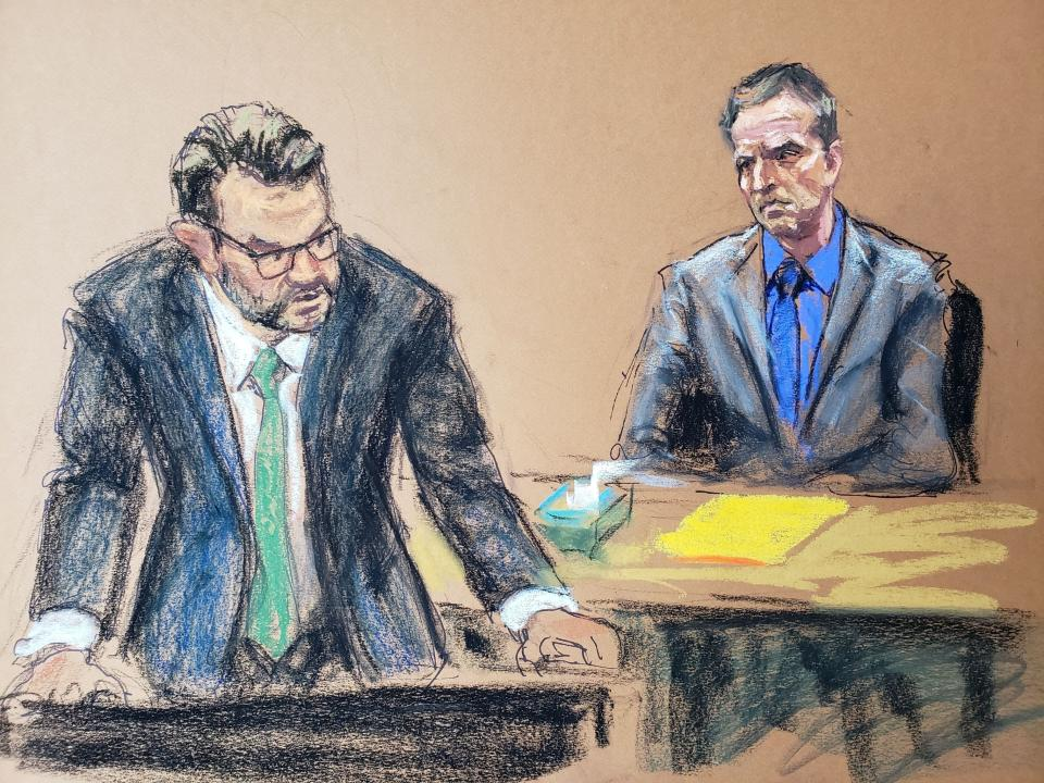 Defence attorney Eric Nelson makes closing arguments during the trial of former Minneapolis police officer Derek Chauvin for second-degree murder, third-degree murder and second-degree manslaughter in the death of George Floyd in Minneapolis, Minnesota, U.S. April 19, 2021 in this courtroom sketch. REUTERS/Jane Rosenberg