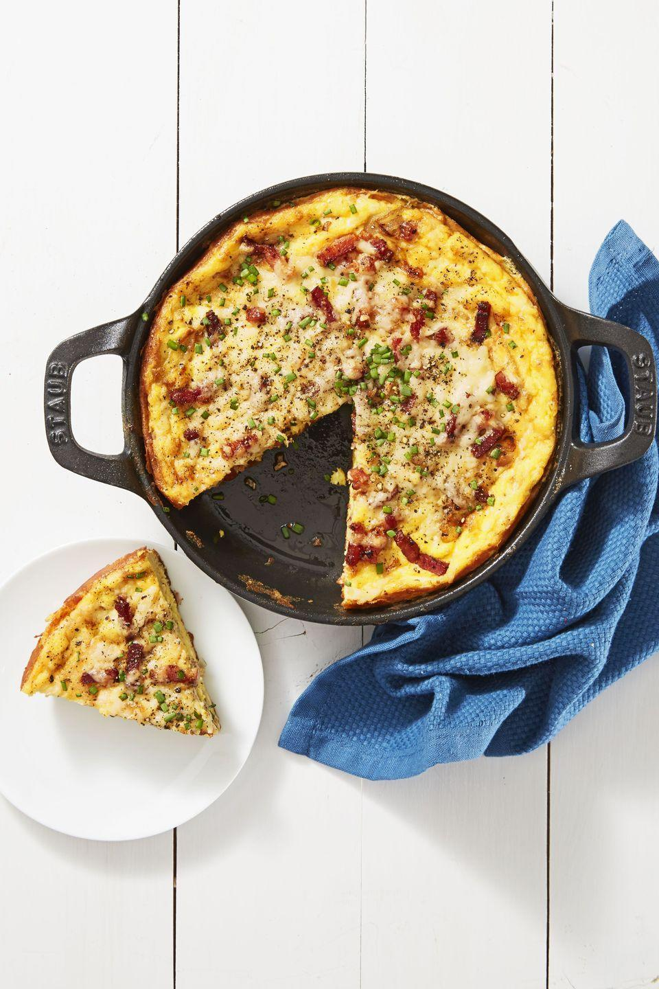 """<p>Give your gluten-free friends a <a href=""""https://www.goodhousekeeping.com/food-recipes/easy/g4258/quiche-recipes/"""" rel=""""nofollow noopener"""" target=""""_blank"""" data-ylk=""""slk:quiche"""" class=""""link rapid-noclick-resp"""">quiche</a> they can <em>actually </em>eat. Trust us: With bacon, Gruyere, chives, and shallots, nobody will even miss the crust.</p><p><a href=""""https://www.goodhousekeeping.com/food-recipes/a39947/crustless-quiche-lorraine-recipe/"""" rel=""""nofollow noopener"""" target=""""_blank"""" data-ylk=""""slk:Get the recipe for Crustless Quiche Lorraine »"""" class=""""link rapid-noclick-resp""""><em>Get the recipe for Crustless Quiche Lorraine »</em></a></p>"""