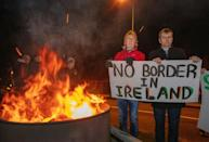 Protesters in January 2020 in Carrickarnon, Northern Ireland warn against the return of a hard border on the island due to Brexit
