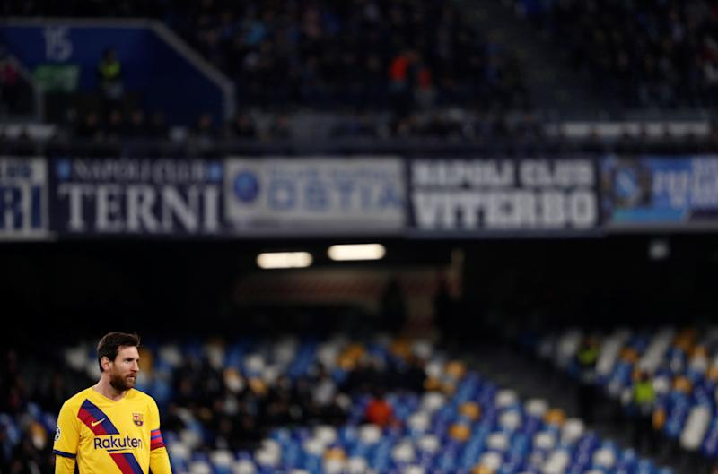 Soccer Football - Champions League - Round of 16 First Leg - Napoli v FC Barcelona - Stadio San Paolo, Naples, Italy - February 25, 2020 Barcelona's Lionel Messi REUTERS/Guglielmo Mangiapane