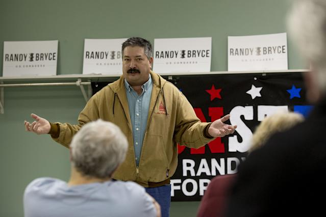 Randy Bryce, Democratic U.S. Representative candidate from Wisconsin, speaks to volunteers during a petition-gathering launch event in Kenosha, Wisconsin, U.S., in April. (Photo: Daniel Acker/Bloomberg via Getty Images)