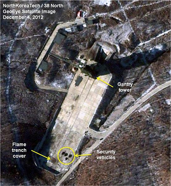 This Dec. 4, 2012 satellite image taken by GeoEye and annotated and distributed by North Korea Tech and 38 North shows the Sohae Satellite Launching Station in Tongchang-ri, North Korea. New satellite images show that heavy snowfall may have slowed North Korean rocket launch preparations but that Pyongyang could still be ready for liftoff starting Monday, Dec. 10. 2012. This image was shared with the AP by the 38 North and North Korea Tech websites, which collaborate on analysis of the satellite imagery. (AP Photo/GeoEye via North Korea Tech and 38 North) MANDATORY CREDIT