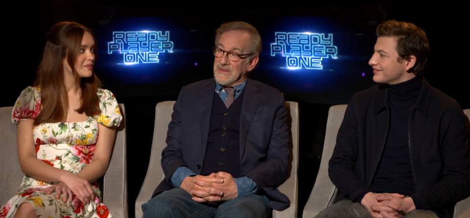 Olivia Cooke, Steven Spielberg, and Tye Sheridan talk Ready Player One. (Yahoo Entertainment)