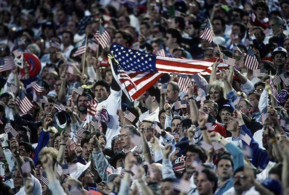 It was hard to not spot an American flag during Super Bowl XXV at Tampa Stadium. (Photo by Focus on Sport/Getty Images)