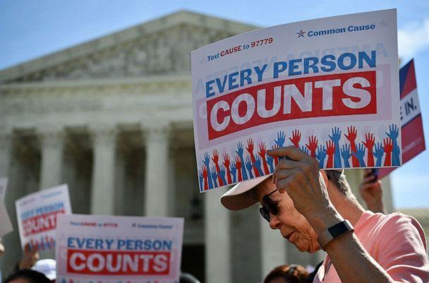 PHOTO: In this April 23, 2019, file photo, demonstrators rally at the US Supreme Court in Washington, DC., to protest a proposal to add a citizenship question in the 2020 Census. (Mandel Ngan/AFP via Getty Images, FILE)