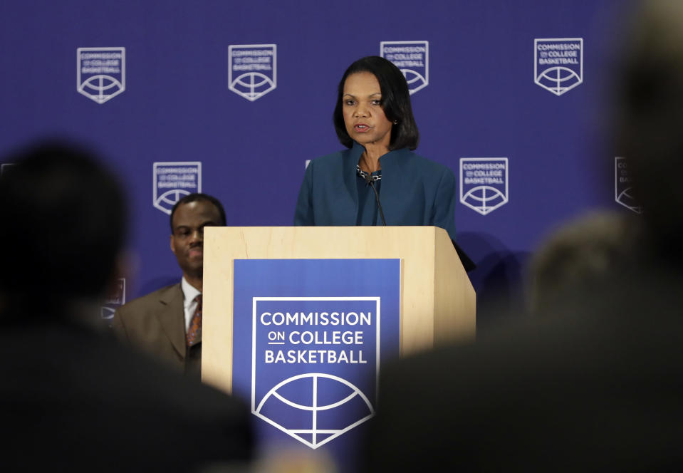 Former U.S. Secretary of State Condoleezza Rice speaks during a news conference at the NCAA headquarters in Indianapolis on Wednesday. The Commission on College Basketball led by Rice, released a detailed 60-page report Wednesday, seven months after the NCAA formed the group to respond to a federal corruption investigation that rocked college basketball. (AP)