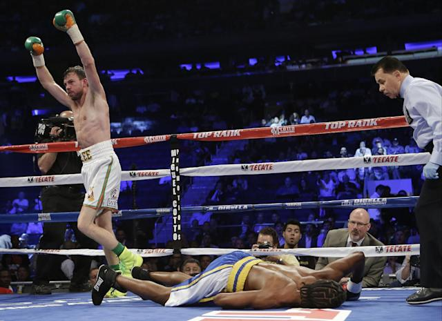 Andy Lee, of Ireland, reacts after knocking out John Jackson, of St. Thomas, Virgin Islands, in the fifth round of a NABF Super Welterweight Title boxing match Saturday, June 7, 2014, in New York. (AP Photo/Frank Franklin II)