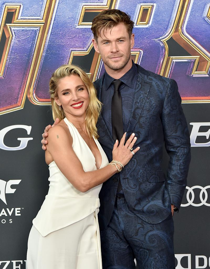 A photo of Elsa Pataky and Chris Hemsworth at the Avengers premiere.