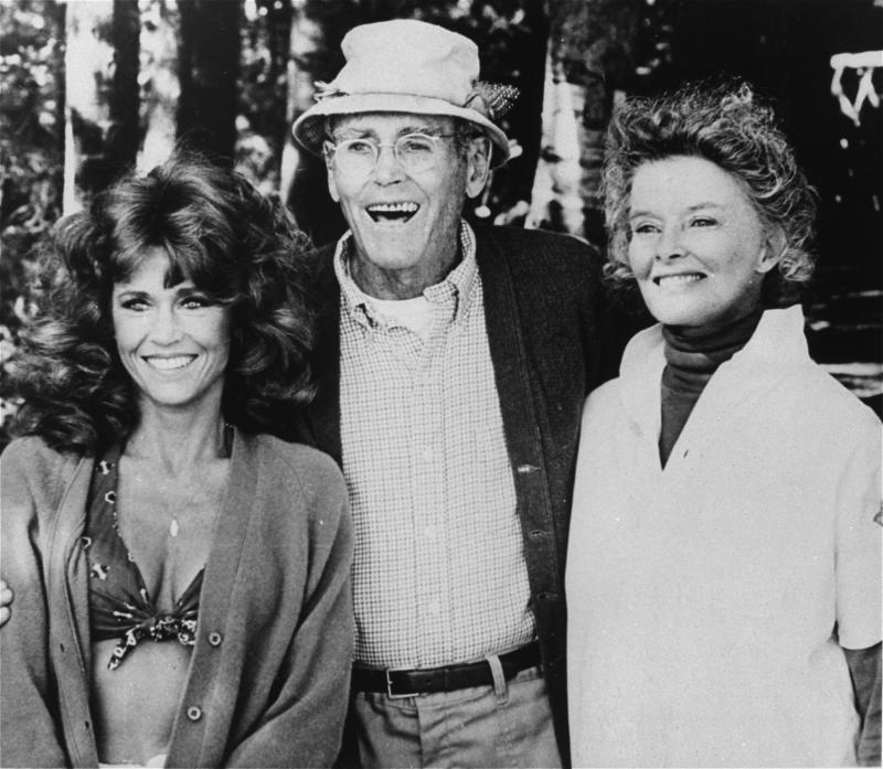 "FILE - In this undated publicity file photo, from left, co-stars Jane Fonda, Henry Fonda, and Katharine Hepburn are pictured in character as seen from the 1981 film, ""On Golden Pond.""  On on Saturday, April 27, 2013, Jane Fonda, the 75-year-old Oscar winner , will place her hand and footprints next to her father's in the concrete shrine to celebrity outside Hollywood's TCL Chinese Theatre. Then she'll present a special screening of the film she made with her dad, ""On Golden Pond."" The cement and cinematic tribute is part of the 2013 TCM Classic Film Festival, which is honoring Jane Fonda. (AP Photo, File)"