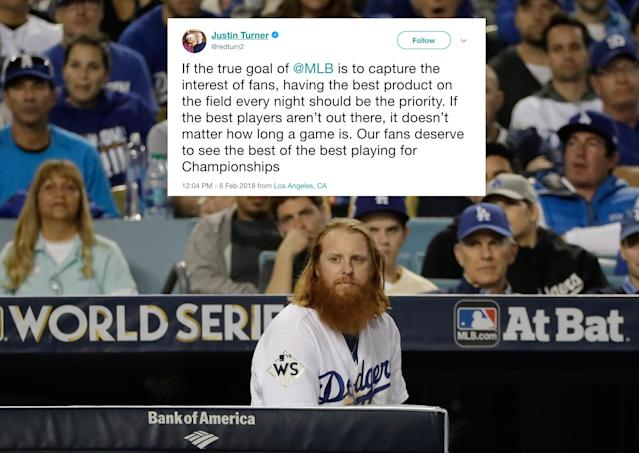 "<a class=""link rapid-noclick-resp"" href=""/mlb/players/8588/"" data-ylk=""slk:Justin Turner"">Justin Turner</a> and other MLB players started tweeting Tuesday about the frozen free-agent market, as the league's labor way took another turn. (AP)"