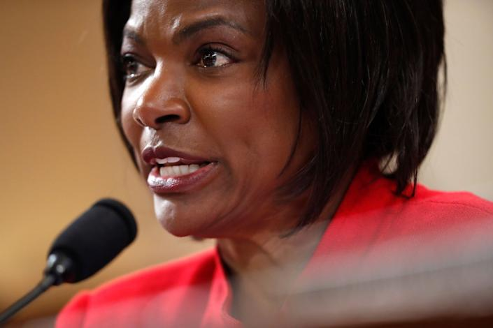 Rep. Val Demings questions a Trump administration official during a public impeachment hearing of President Donald Trump in November 2019.