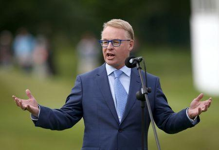 Britain Golf - BMW PGA Championship - Wentworth Club, Virginia Water, Surrey, England - 29/5/16 CEO of the PGA European Tour Keith Pelley speaks during the presentation Mandatory Credit: Action Images / Paul Childs Livepic EDITORIAL USE ONLY.