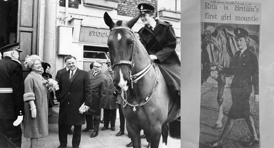 Rita Meredith (nee Browning) meeting the Queen Mother while on duty and a Daily Express newspaper article about Rita dated October 11, 1967. Photo Credit: Meredith/Browning Family