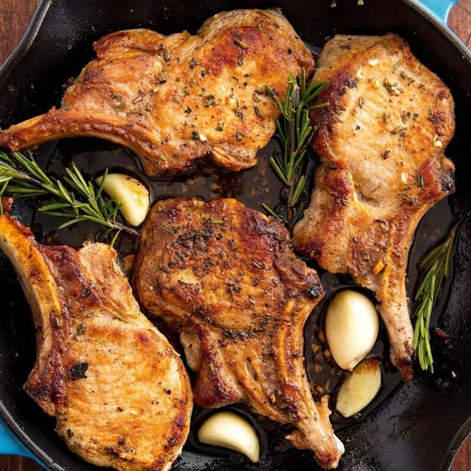 """<p>Here at Delish, we think <a href=""""http://www.delish.com/uk/pork-recipes/"""" rel=""""nofollow noopener"""" target=""""_blank"""" data-ylk=""""slk:pork"""" class=""""link rapid-noclick-resp"""">pork</a> chops get a bad rap. Maybe it has something to do with all the dry, overcooked chops we were served as kids—but it doesn't have to be that way. Pork chops have the potential to be juicy, tender, and flavourful, really! </p><p>Get the <a href=""""https://www.delish.com/uk/cooking/recipes/a29186909/oven-baked-pork-chops-recipe/"""" rel=""""nofollow noopener"""" target=""""_blank"""" data-ylk=""""slk:Garlic Rosemary Pork Chops"""" class=""""link rapid-noclick-resp"""">Garlic Rosemary Pork Chops</a> recipe.</p>"""