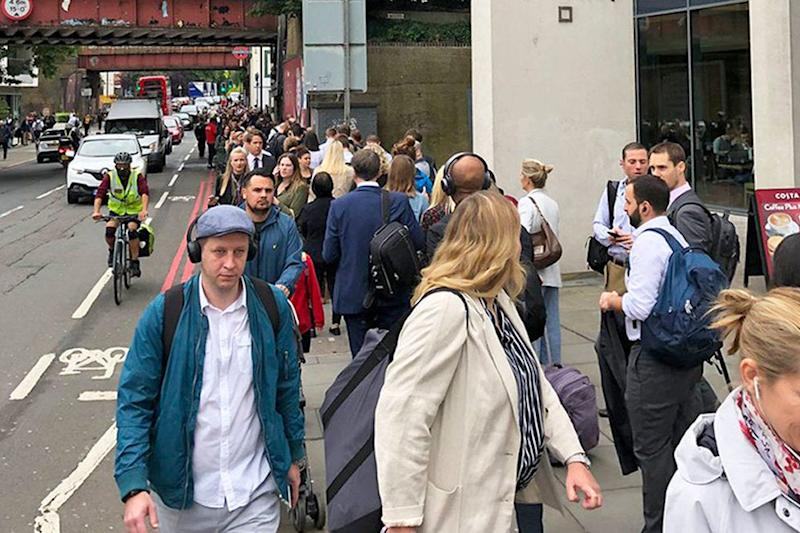 Commuters faced long queues for a second day in a row. (Tim Rye/PA )