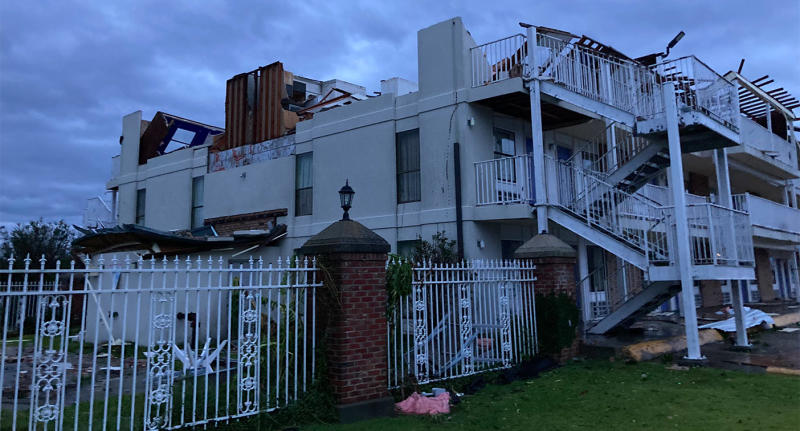 Roofs were torn from buildings and windows shattered in the storm. Source: Twitter/ChiefKeith