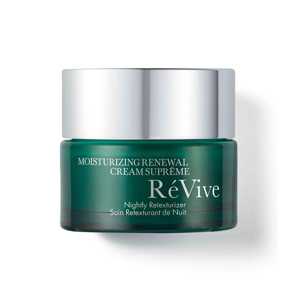 """<p><a class=""""link rapid-noclick-resp"""" href=""""https://www.harrods.com/en-gb/shopping/revive-moisturizing-renewal-cream-supreme-nightly-retexturiser-50ml-14791215"""" rel=""""nofollow noopener"""" target=""""_blank"""" data-ylk=""""slk:SHOP"""">SHOP</a></p><p><strong>Best for: dull skin and rough texture</strong></p><p>If your skin is starting to feel akin to sandpaper, it's time to become acquainted with exfoliating acids. Glycolic acid is the leader of the pack, working to reveal fresher skin by chemically dissolving the dull, dead cells that linger on your skin's surface, revealing the brighter youngsters beneath. This clever cream contains a dose of glycolic alongside shea butter and nourishing oils to ensure you end up fresh, not flushed. </p><p>RéVive Moisturizing Renewal Cream Supreme, £145, Harrods.com </p>"""