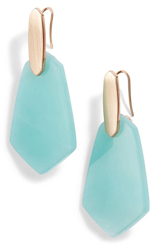 """<p><strong>Kendra Scott</strong></p><p>nordstrom.com</p><p><strong>$75.00</strong></p><p><a href=""""https://shop.nordstrom.com/s/kendra-scott-camila-drop-earrings/5160601"""" target=""""_blank"""">Shop Now</a></p><p>For the mom who's always looking for a little pop of color, these statement earrings come in five beautiful shades. Perfect for a touch of glam at school drop-off or date night.</p>"""