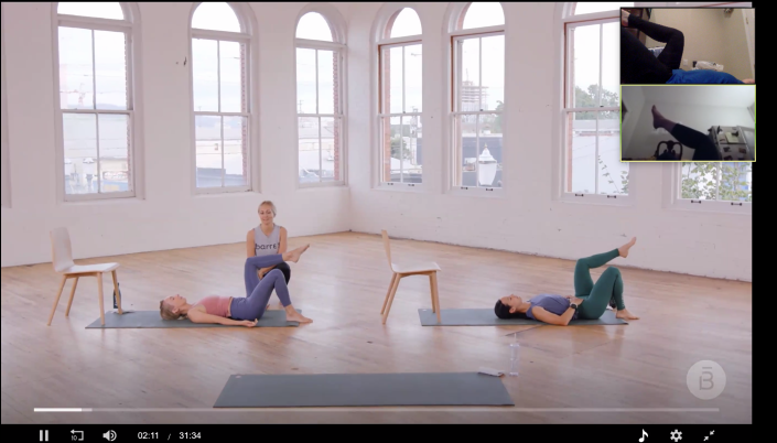 With a class playing in the center of the screen and Josie and I each in the upper-left-hand corner, we were able to take the same class and work out together despite stay-at-home orders. (Barre3)