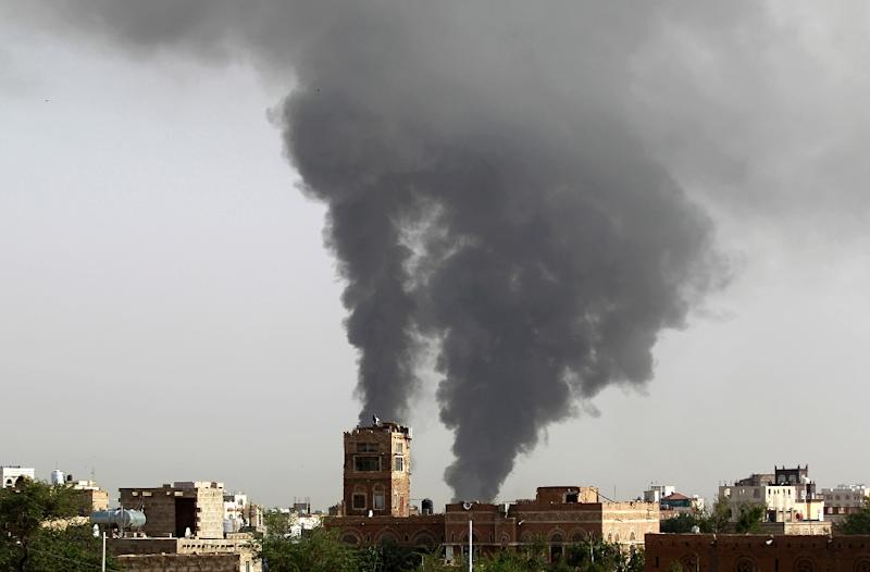 A picture from July 07, 2015 shows the aftermath of air strikes by the Saudi-led coalition on Yemen's capital Sanaa