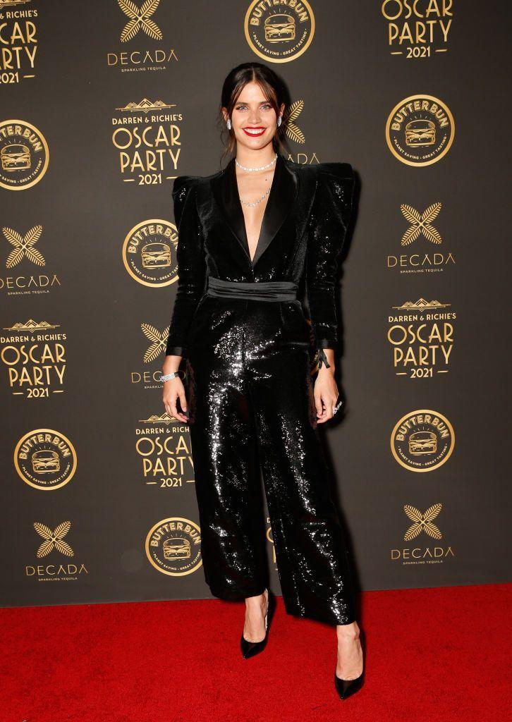 <p>The model attended the after party wearing a black sequin jumpsuit by Zuhair Murad.</p>
