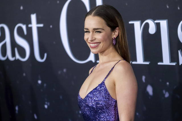 """Emilia Clarke attends the premiere of """"Last Christmas"""" at AMC Lincoln Square on Tuesday, Oct. 29, 2019, in New York. (Photo by Charles Sykes/Invision/AP)"""